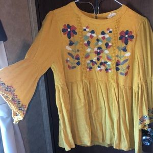 Embroidered mustard top